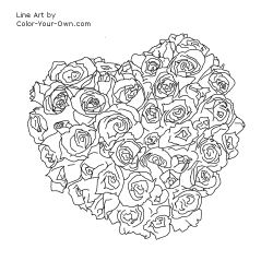 Valentine's Day Coloring Page - Heart shaped bouquet of roses