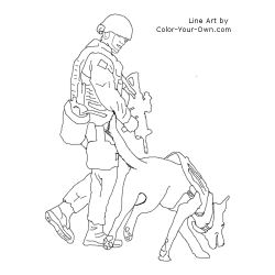 Military Bomb Detection Dog Coloring Page