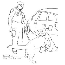 Detector Dog inspecting a vehicle coloring page