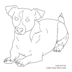 Jack Russell Terrier Laying Down Line Art