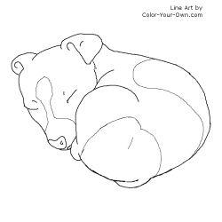 Sleeping Jack Russel Puppy Line Art
