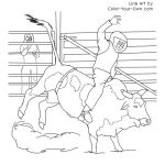 Miniature Bull Riding Coloring Page