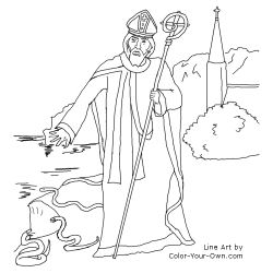 Saint Patrick Driving the Snakes Out of Ireland Line Art