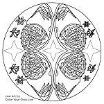 Butterfly Wing Mandala Line Art
