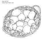 Easter Eggs in a Basket Line Art