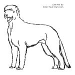 Standing Irish Wolfhound Dog Line Art