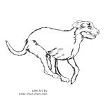 Running Irish Wolfhound Line Art