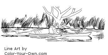 Summer Kayaking and Birdwatching Line Art