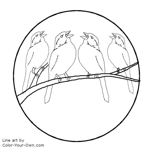 12 days of christmas four calling birds line art