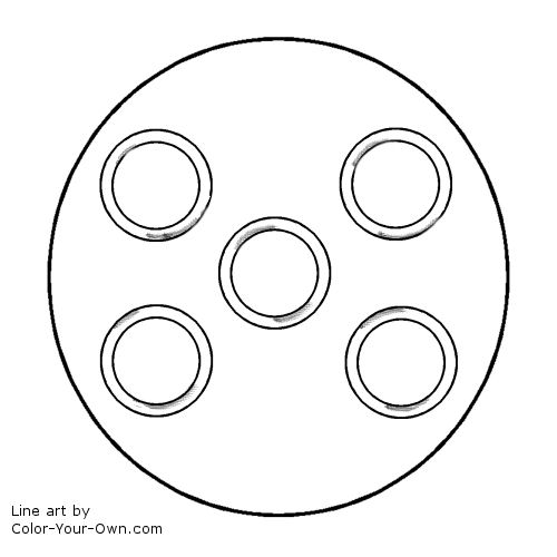 12 Days of Christmas - 5 Golden Rings Line Art