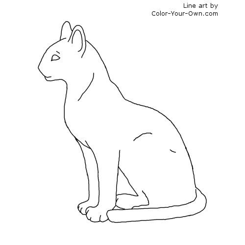 Egyptian Cat Statue Bast Coloring Page