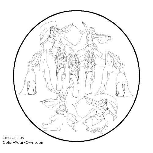 12 Days of Christmas - Nine Ladies Dancing Line Art