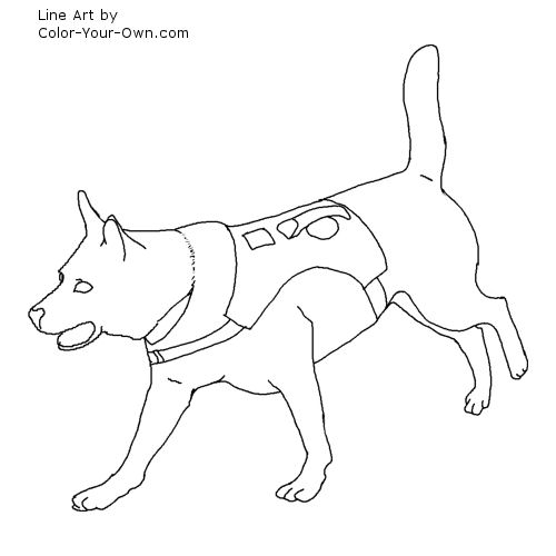 Search and Rescue Dog Line Art
