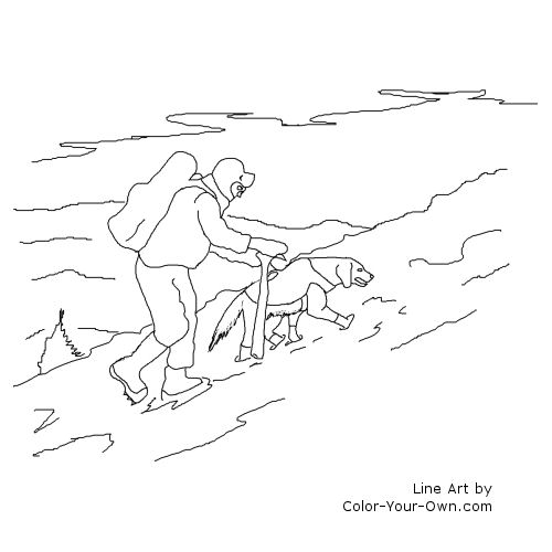 Search And Rescue Dog In Snow Coloring Page