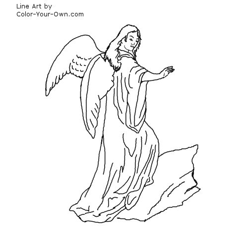 Line Art By Color Your Own : Blessing angel coloring page