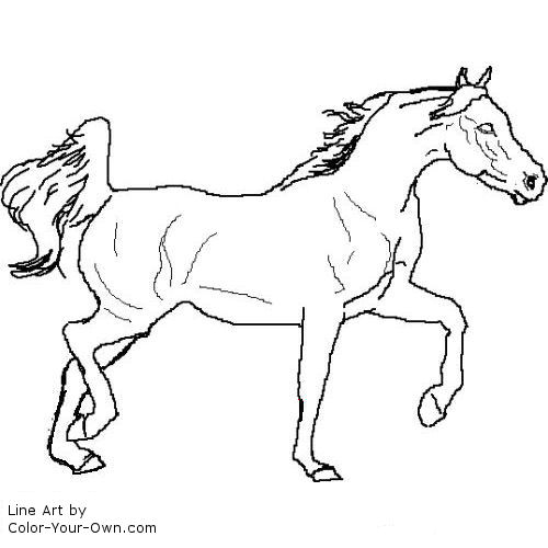 trotting Arabian horse coloring page