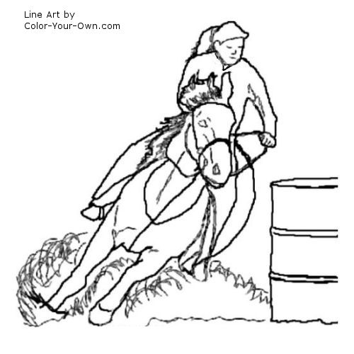 Barrel Racing Horse Coloring Page