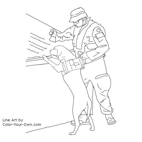 Line Art By Color Your Own : Bomb sniffing dog coloring page