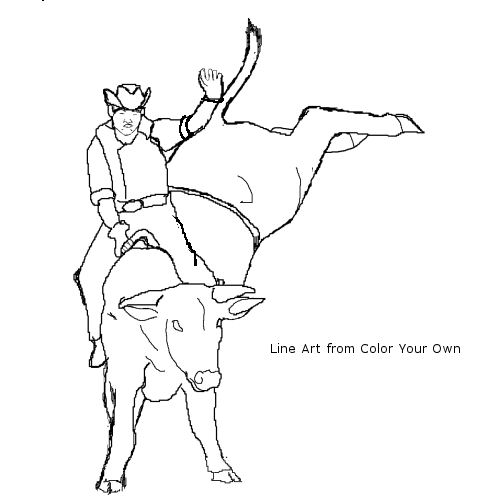 Rider on bucking bull coloring page for Bucking bull coloring pages