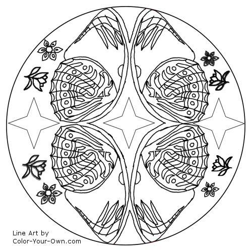 Butterfly Wing Mandala Coloring Page