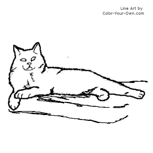 Longhaired Manx Cat Coloring Page