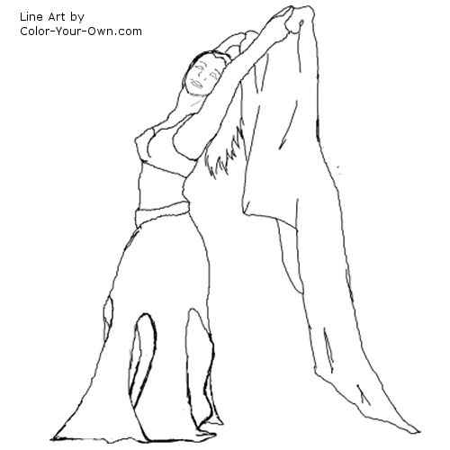 belly dancer coloring page 4