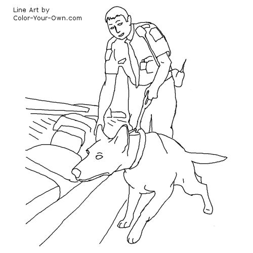 Airport Detection Dog Line Art
