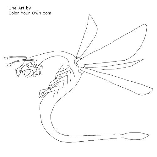 Line Art By Color Your Own : Dragon fly coloring page