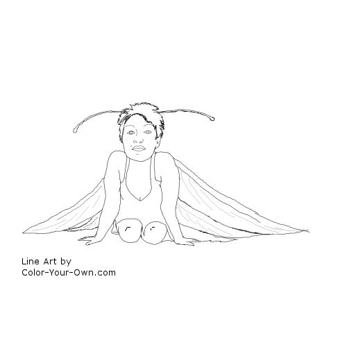 Fairy Girl with Antenna line art
