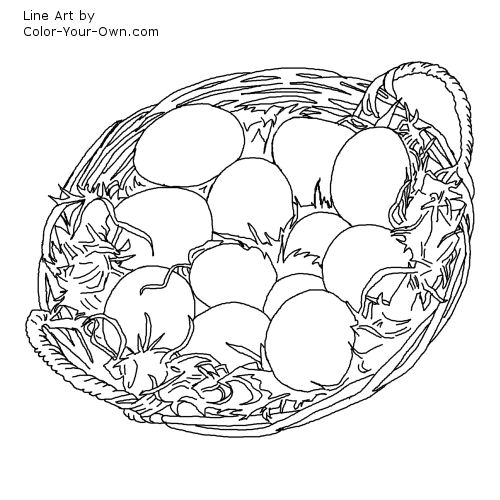 Eggs In A Basket Or Easter Egg Line Art