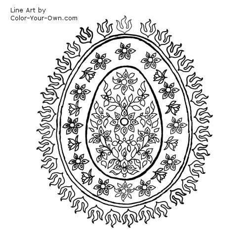 Decorative Egg Pattern with Flowers Line Art
