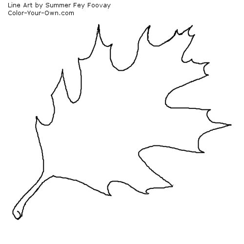 Fall Leaf - Oak - Coloring Page