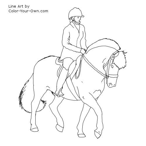 Norweigan Fjord Horse Under Saddle Coloring Page