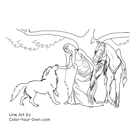 Wolf Coloring Pages on Free Printable Fairy Horse Wolf Coloring Page Jpg