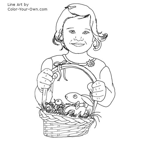 Girl with Easter Egg Basket Line Art