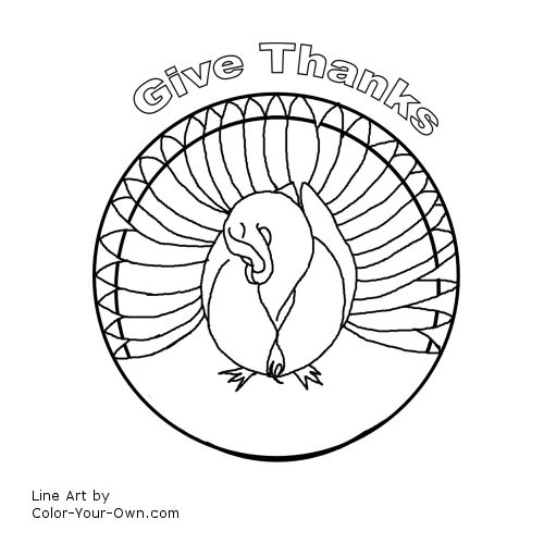 Giving Thanks Mandala Line Art