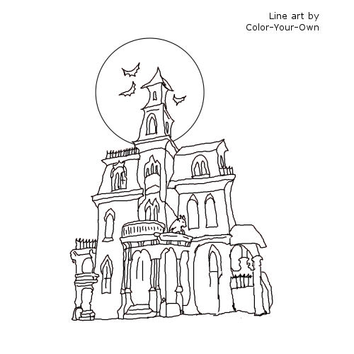 Line Drawing Of Your House : Free coloring pages of haunted hataways
