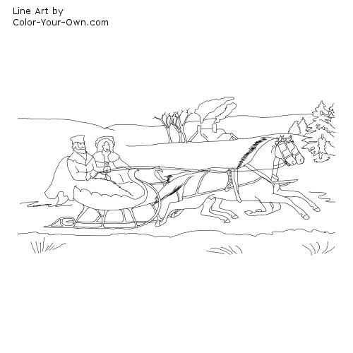 Horse Drawn Sleigh Line Art