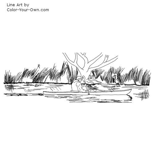 Kayaking Line Art