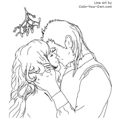 Christas Kiss Under the Mistletoe Line Art
