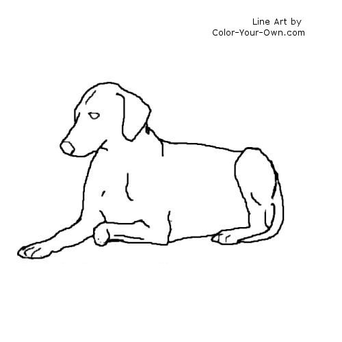 Dog - Lying Down Coloring Page