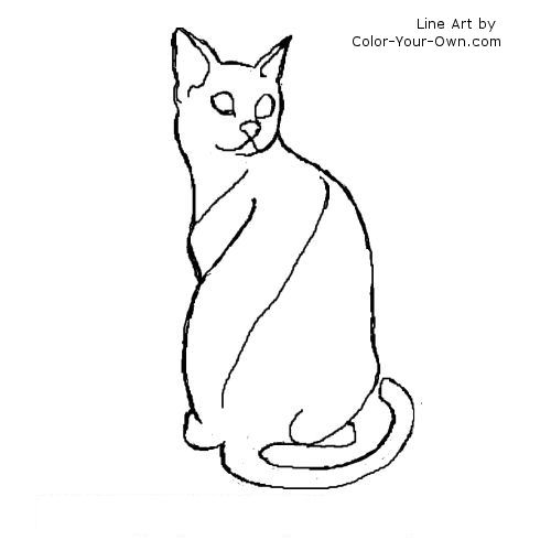 Egyptian Mau Cat Line Art
