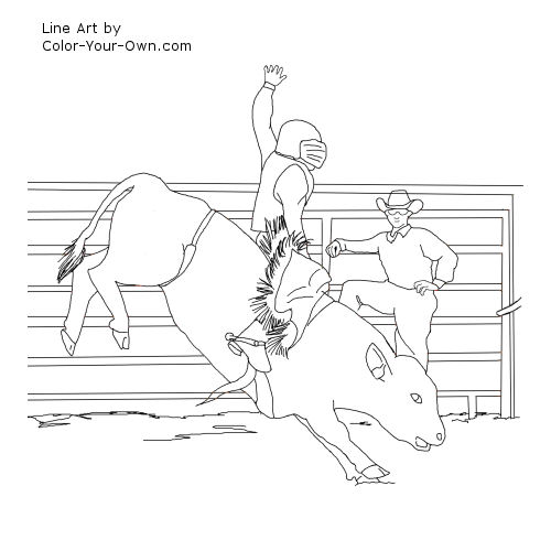 Miniature bucking bull coloring page - Bronc Rider Pencil Coloring Pages