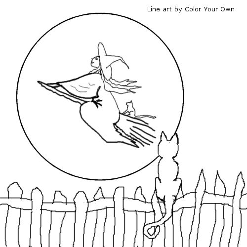 Moony Halloween Cat Coloring Page