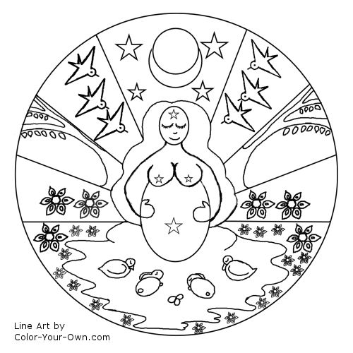Mother Goddess Spring Mandala Line Art