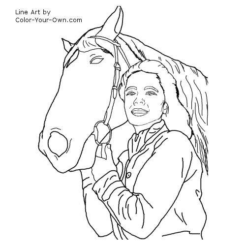 Line Art By Color Your Own : Young elizabeth taylor with horse coloring page