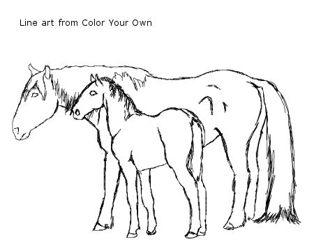 back to the coloring pages index - Coloring Pages Horses Foals