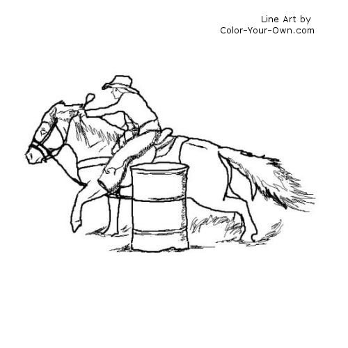 barrel racing coloring pages - photo#21