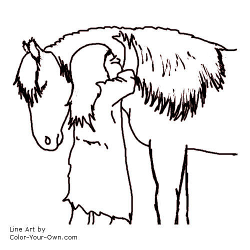 Line Art By Color Your Own : Girl hugging pony coloring page