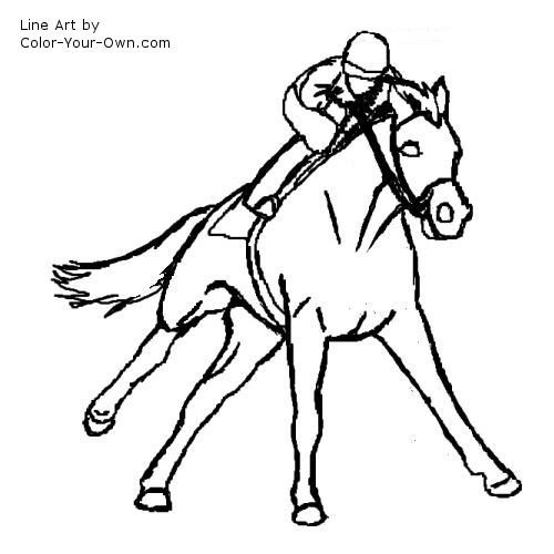 Galloping Racehorse Coloring Page